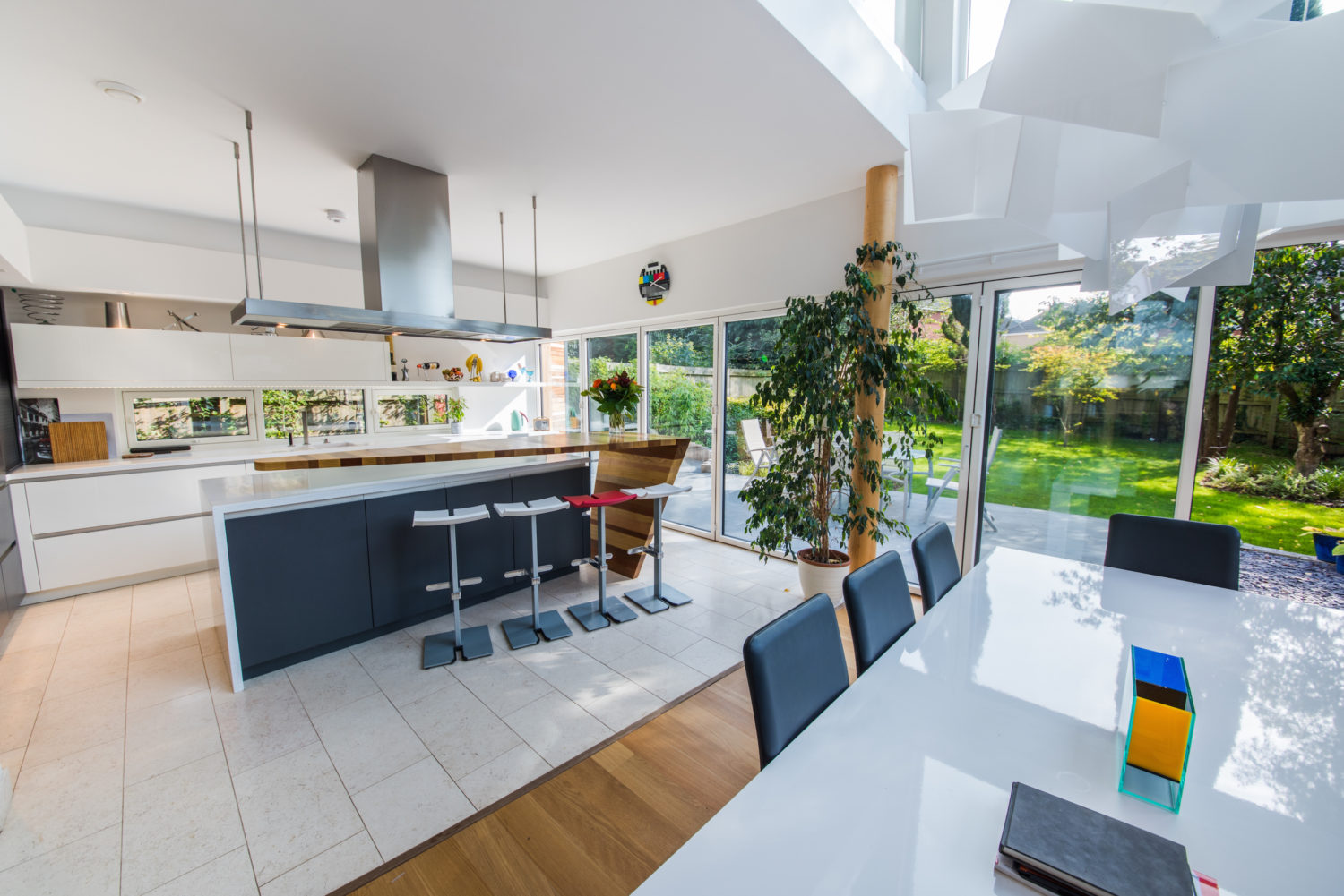 Cardiff home with beautiful kitchen, mixture of wood, grey and white